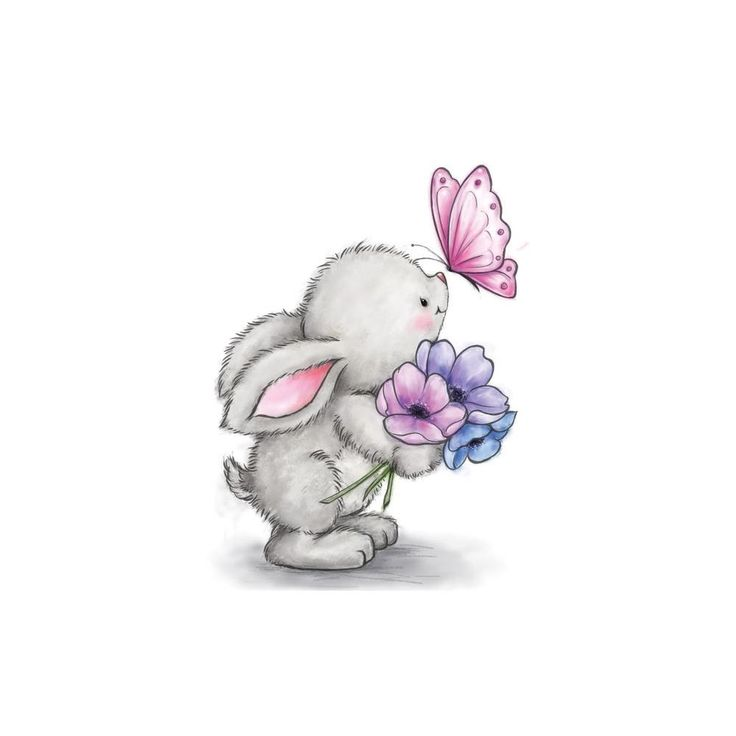 Wild Rose Studio BUNNY AND BUTTERFLY Clear Stamp Set CL463 zoom image