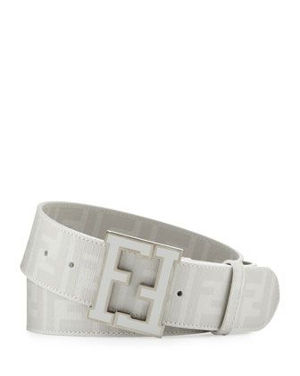 Men\'s Zucca FF-Buckle Belt, White by Fendi at Neiman Marcus.
