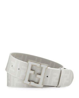 Men\'s Zucca FF-Buckle Belt, White  by Fendi at Neiman Marcus.