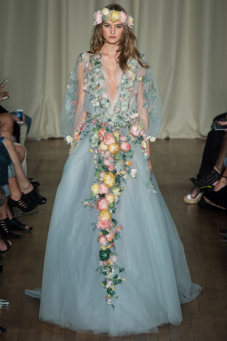 Marchesa Spring 2015 RTW Flower appliques dress