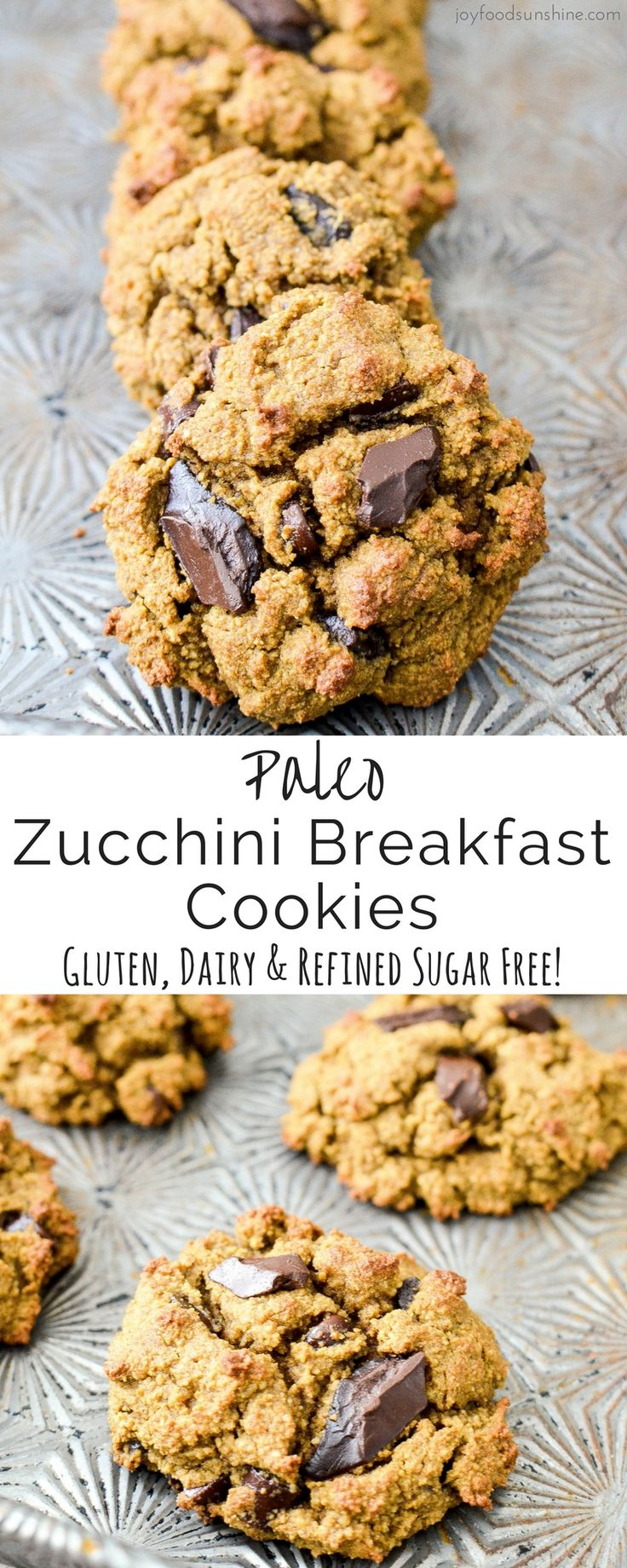Paleo Zucchini Breakfast Cookies! A healthy and nutritious breakfast recipe loaded with sneaky veggies that tastes like dessert! Gluten-free, dairy-free & refined sugar free!