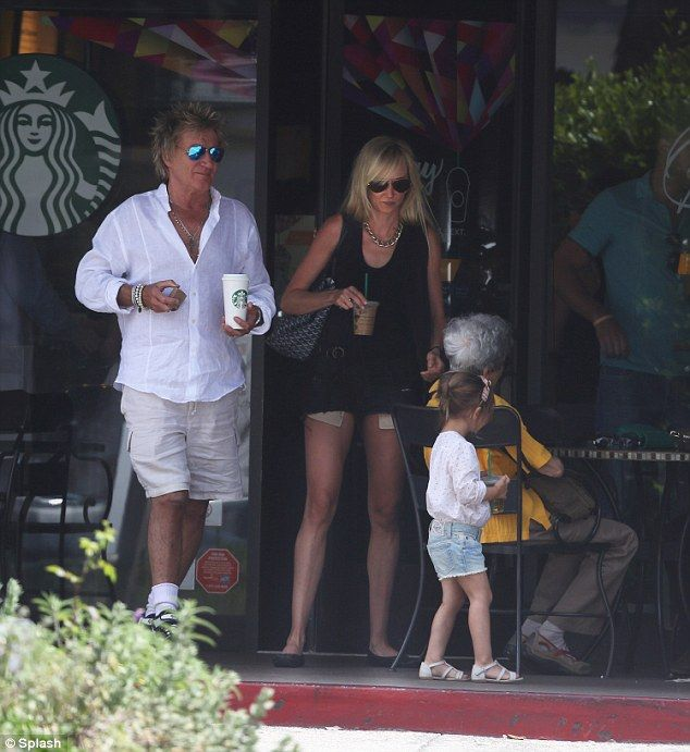 Three generations: Rod Stewart takes his daughter Kimberly Stewart and granddaughter Delilah for a coffee in Bel Air on Saturday