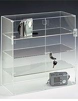 acrylic display case with sliding doors and lock ($106)