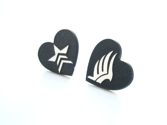 Gamer Video Game Jewlery Mass Effect Paragon Renegade Earrings , Engraved Logos Laser Cut Black Heart Stud Earrings