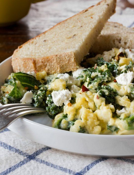 Scrambled Eggs with Goat Cheese, Greek Yogurt & Greens #eatcleanpinparty