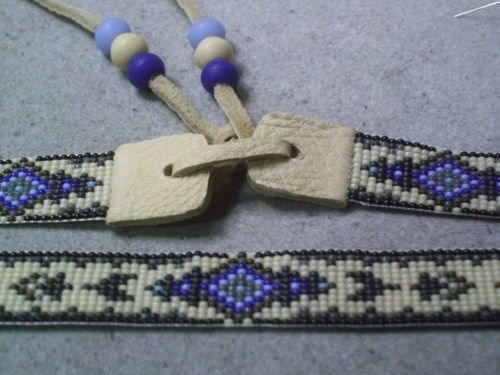 Tapestry beaded hat band, Native American style beaded hat band