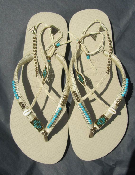 Stunning decorated turquoise & gold bronze beaded BOHO Beige Sand Gray Light Golden Havaianas flip flops sandals  You can decorate your hands, ears, neck- but also … your foot!  These are an absolutely unique Must Have Flip Flops!!! The combination between style and comfortable at the same pair of sandals.  I use quality materials as: japanese beads, silver sterling beads, stone beads, shells etc. All sandals are handmade decorating and MADE TO ORDER - especially for you! PLEASE ALLOW 7-10…