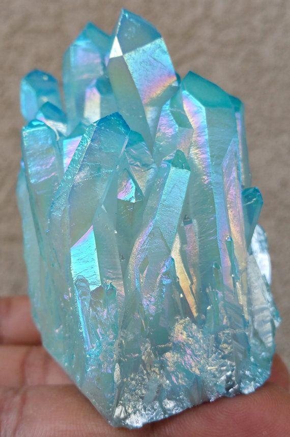 Blue Aqua Aura Crystal Quartz Cluster CZ61201