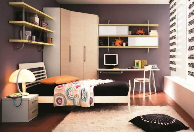 Bedroom Ideas for Small Room with cream plywood corner wardrobe connected by floating bookshelf and white wooden study desk also single bed on white fur rug
