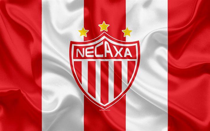 Download wallpapers Necaxa FC, 4K, Mexican Football Club, emblem, Necaxa logo, sign, football, Primera Division, Mexico Football Championships, Aguascalientes, Mexico, silk flag