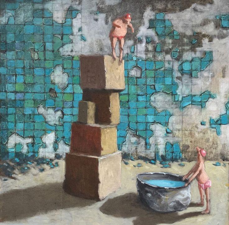 Thomas Bossard, artiste peintre, Le grand saut, huile sur toile, 92 x 73 cm