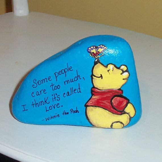 Winnie the Pooh Painted Rock Quote by aquietplace on Etsy