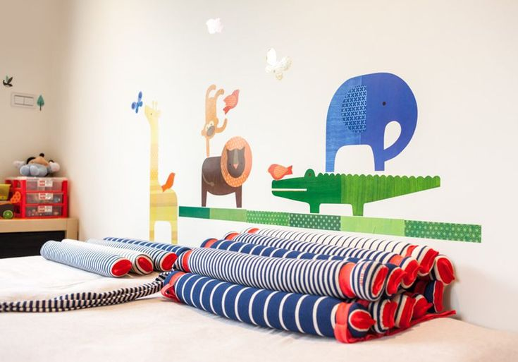 Wall decals bring a fun vibe to the kids' bedroom