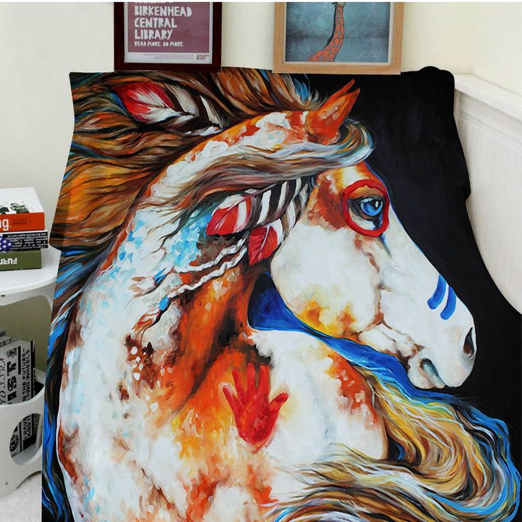 ==> [Free Shipping] Buy Best Blankets Comfort Warmth Soft Cozy Air conditioning Easy Care Machine Wash Beautiful Modern Art Abstract Painting Animal Horse Online with LOWEST Price | 32815701702