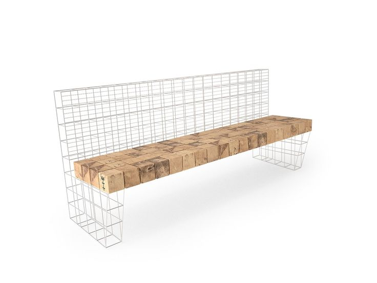 CITY FURNITURE FOR GDAŃSK / Our project of a city bench / The concept of the full set is based on three materials/forms - oak wood cubes, three dimentional steel rod mesh, bend steel plates - used in the project according to a strictly defined formal requirements. Thanks to its modularity the form is universal and allows to freele ajust the furniture to the given needs / visualisations by 49_corp