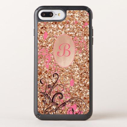 #iPhone case glitter monogram initial floral swirl - #gold #glitter #gifts