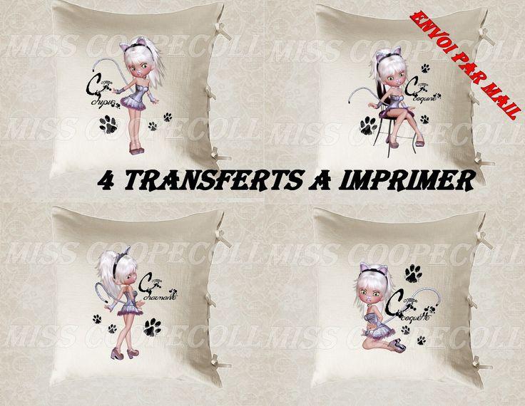 """4 images digitales pour transfert à imprimer """"miss cat2"""" envoi par mail : Loisirs créatifs, scrapbooking par miss-coopecoll"""