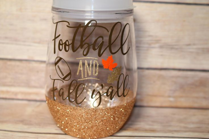 Football and Fall Y'all Wine Tumbler, Wine 2 Go, Bev2go, Glitter Wine Glass, Fall tumbler, Happy Fall Y'all, Gift for Friend by OhMyGlitterDesigns on Etsy