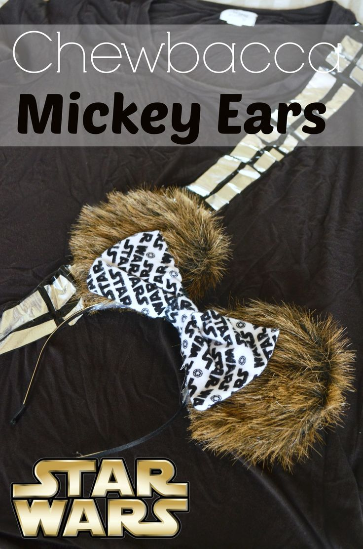 DIY Chewbacca Minnie Mouse Disney Ears - Also links included for the shirt directions and Star Wars Run Disney Costume ideas. rebels, droids, and Imperial forces. | #StarWars #Disney #RunDisney