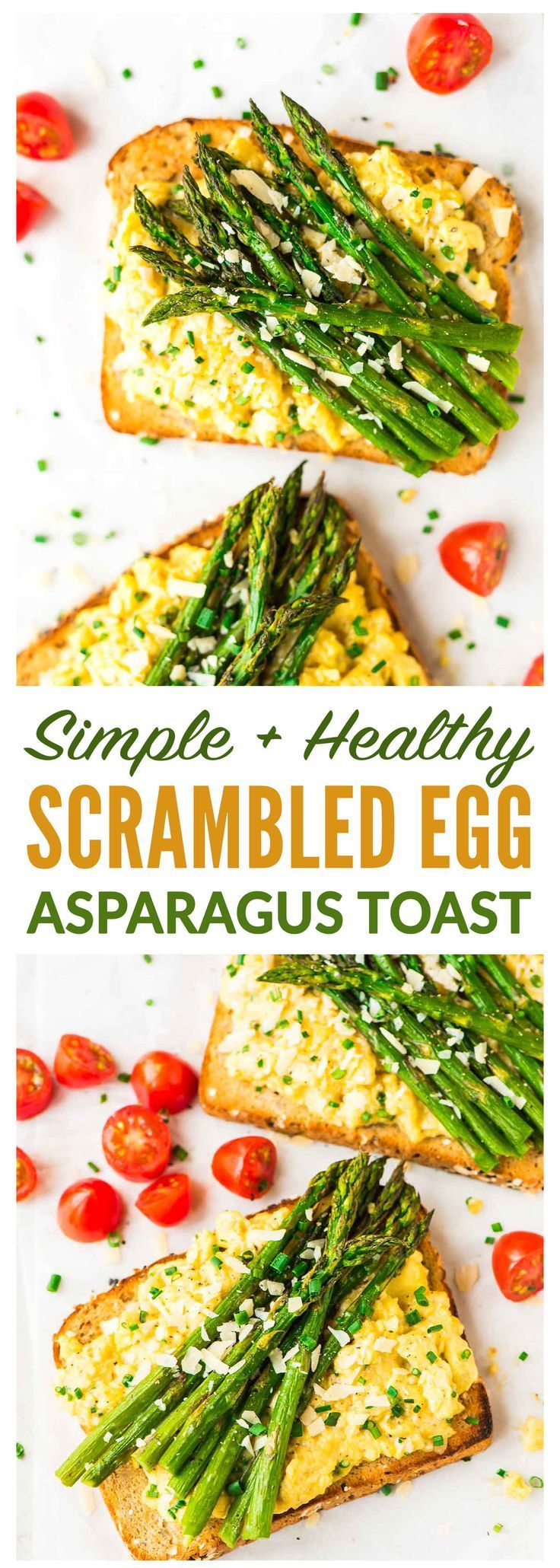 Easy Asparagus and Creamy Scrambled Egg Toasts – Fast, healthy, and high protein. Great for a filling vegetarian breakfast or dinner!  Recipe at wellplated.com | @wellplated