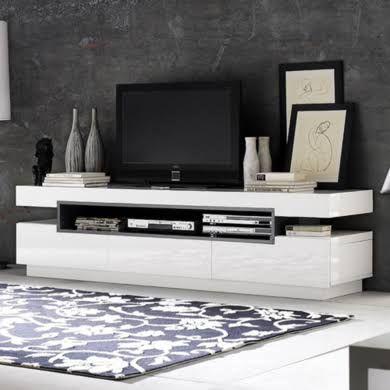 evoque rectangular high gloss white tv unit with grey high gloss detai in home furniture u0026 diy furniture tv u0026 stands