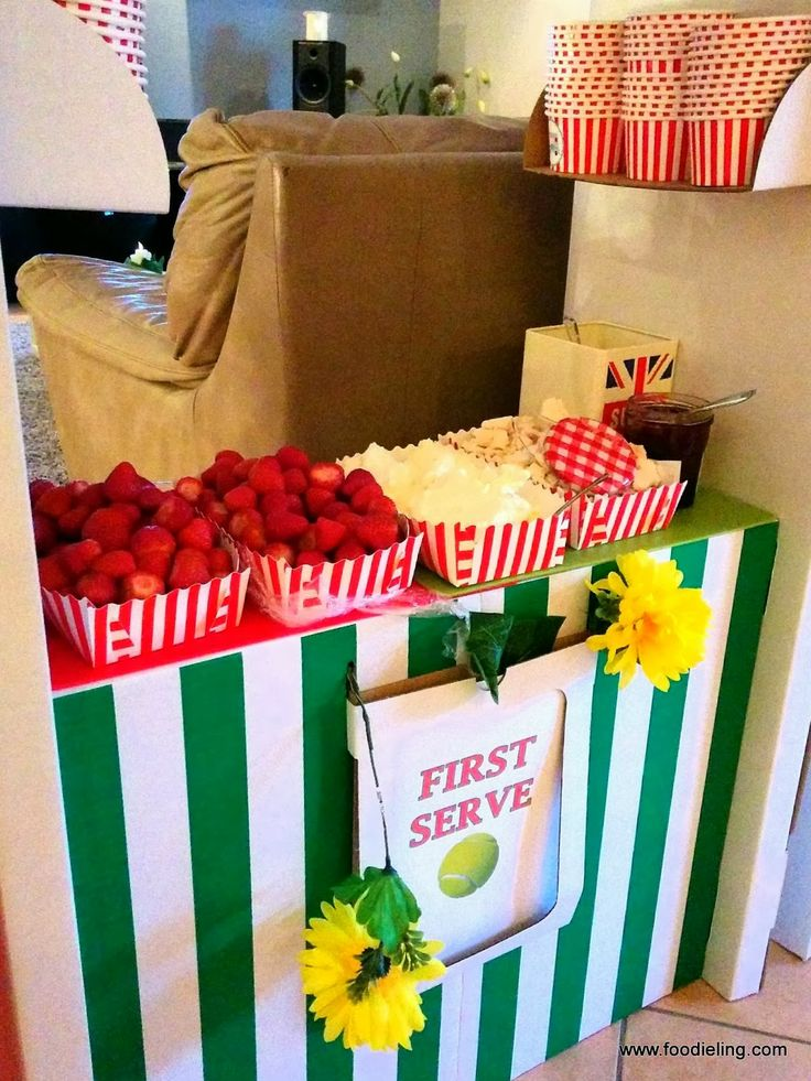 Wimbledon Party or British Themed Party Ideas - Strawberries and Cream being popular at Wimbledon became the star of this DIY Eton Mess stand!