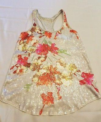 Express Sleeveless Razorback Tank Top Sz S Sequin Shirt Floral Casual Everyday