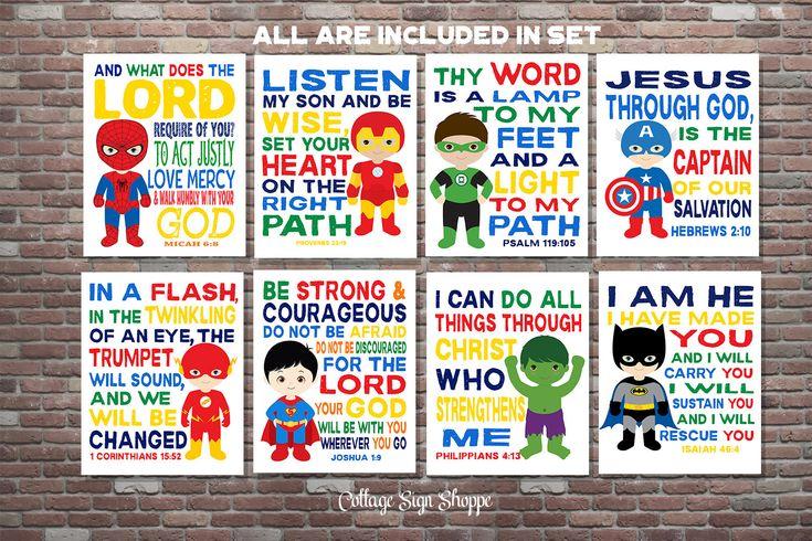 Kids Christian Art,Superhero Wall Art,Scripture Superhero Art,SET, INSTANT DOWNLOAD,Boys Superhero Scripture Art,Superhero Scripture by CottageArtShoppe on Etsy