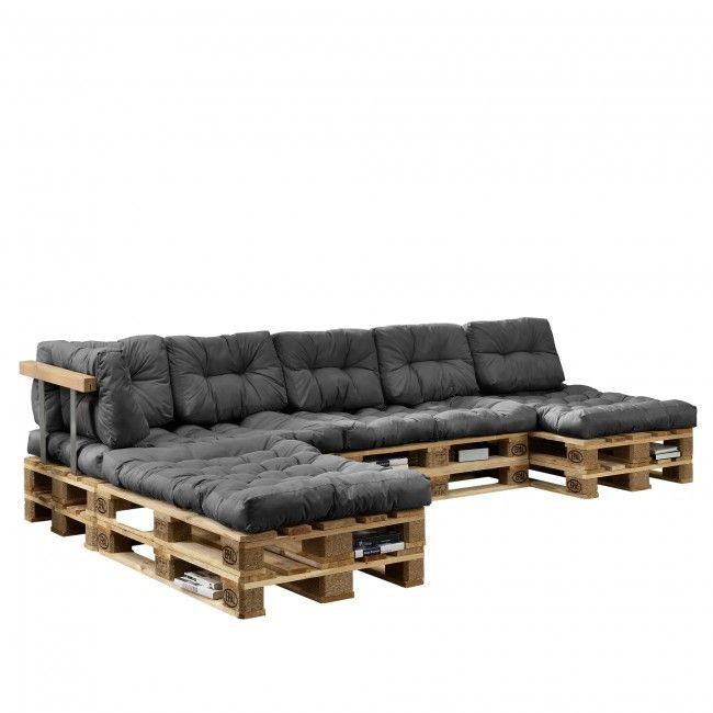 "[en.casa] ""Euro Paletten Sofa"" Auflage 4x Sitz- & 6x Rückenkissen Grau Kissen"