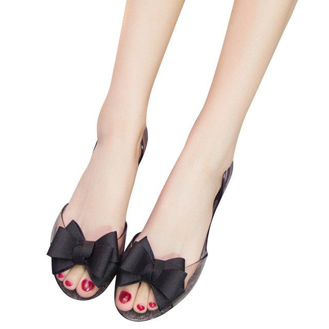 HEE GRAND 2017 New Women Jelly Sandals Sweet Bowtie Flat Shoes Woman Slip On Summer Jelly Shoes 4 Colors Size 35-40 XWZ3710