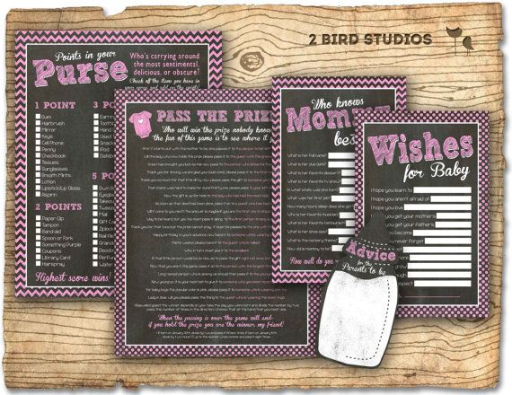 Baby shower games - girl baby shower games - points in your purse game , wishes for baby game - DIY instant download printable games