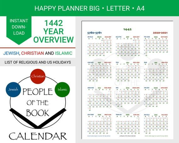 1442 Ah Islamic Hijri Year Overview People Of The Book Etsy Holiday Lettering Happy Planner Book People