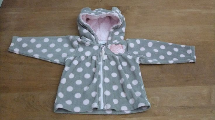 Vintage Baby Girl Coat jacket, Grey Pink Polka Dot Coat, Fleece Winter Jacket, Zip Up- Size 3-6 months by OrlyLa on Etsy