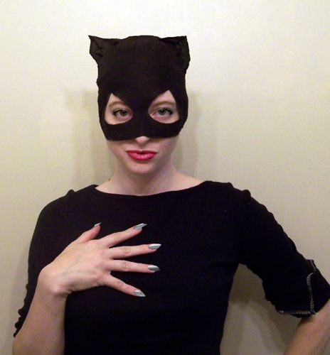 Catwoman mask pattern and how-to. Get a free pattern and step-by-step photo tutorial on how to make a Catwoman mask at home.
