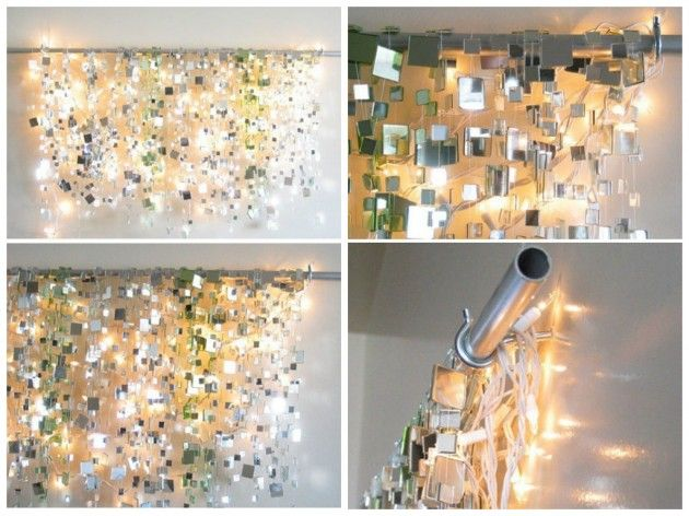 Hang little pieces of mirrors and lighten them up. The effects are amazing - 13 Amazing Ideas How to Reuse Your Broken Mirror