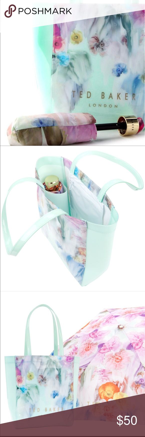 Ted Baker pale mint green tote bag with umbrella Such a cute little bag with zippered pocket and little pocket from umbrella. Brand new! Would make an excellent gift  Ted Baker Bags Totes