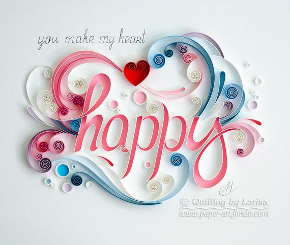 Quilling art Quilling wall art Quilling art Paper quilling Art Love Heart Happy…