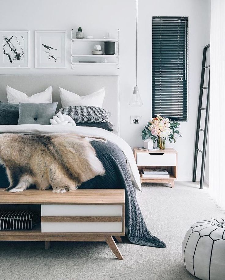 amazing peaceful grey and blue bedroom inspiration with lots of details