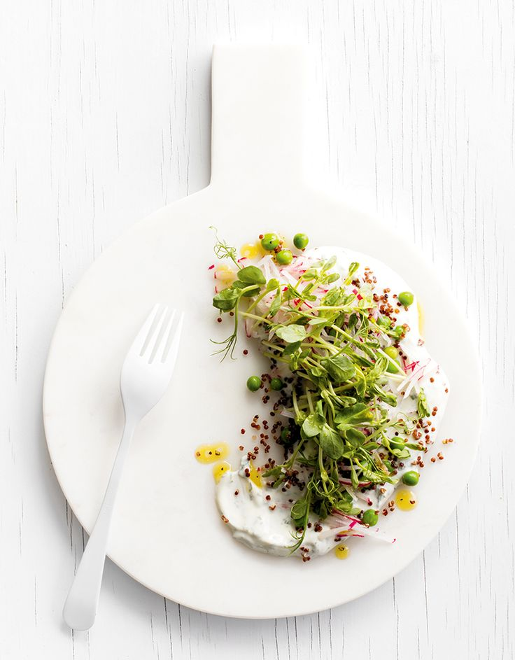 Either serve individual plates of salad or spoon yogurt dressing onto a large serving platter and arrange greens on top.