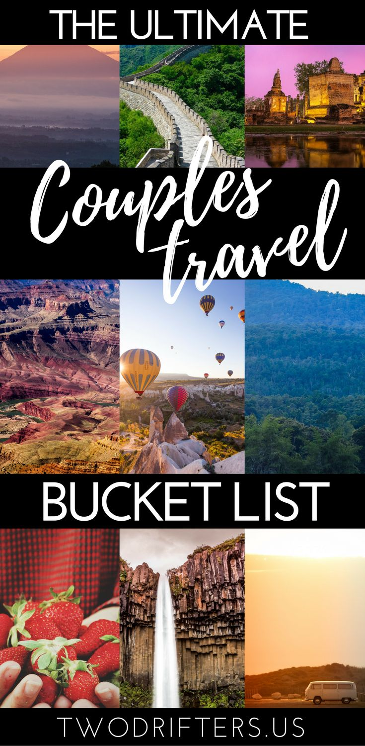 Romance, adventure, and travel. We share a list of 101 exciting bucket list ideas for couples. Gather inspiration for your romantic bucket list, travel bucket list, and more. On your way to reaching your couples goals! #Couplebucketlist