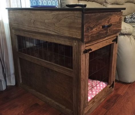 Dog crate end table DIY--love that this one has a drawer in the top!
