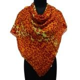 Designer Rectangle 100%Silk Scarves Orange Shoulder Wrap Abstract Print Scarf