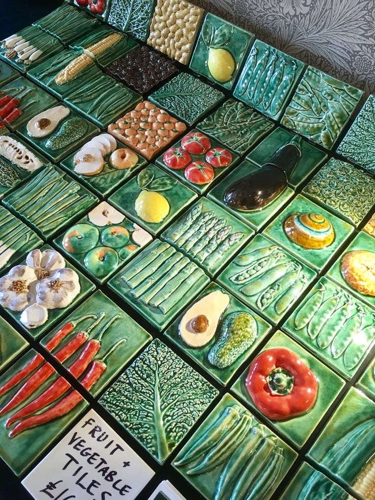 Fruit And Vegetable Tiles Handmade Tiles Ceramic Decor Handmade Ceramics
