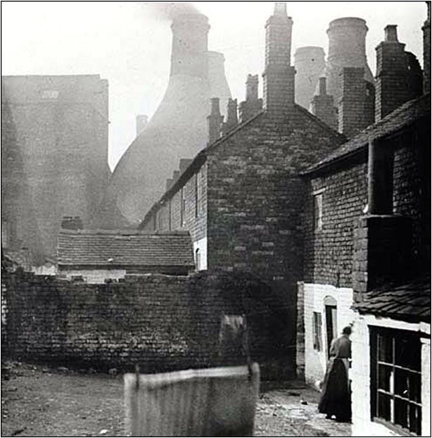 Housing in Lower St John Street, Longton c.1930. The new Fire Station now occupies this land.