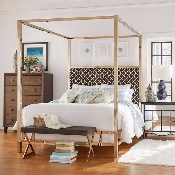 Best Solivita King Canopy Champagne Gold Metal Bed By Inspire Q 400 x 300