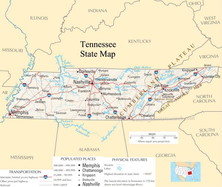 Tennessee Pictures Tennessee State Map A Large Detailed Map Of Tennessee State Usa