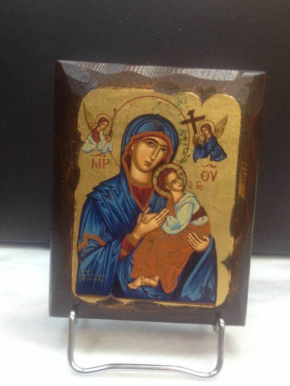 Blessed Virgin Mary - Madona y el niño. Hand made in Hellas-Greece Dimensions: 4,52 x 5,9 inches / 11.5 x 15 cm