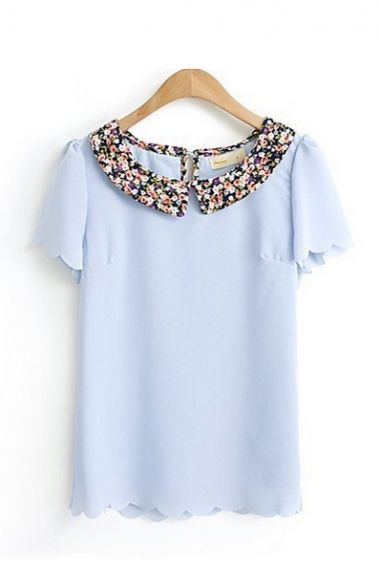 scalloped blouse with a floral collar