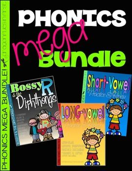 This MEGA bundle is a money saving collection of the very popular Short Vowel Practice and Review Long Vowel Practice and Review Bossy R and the DiphthongsPlease visit each of these listings to see more information on each of these products. With 267 pages - You will have plenty of phonics resources at your fingertips!This bundle is designed to take you through the school year while learning, practicing and mastering early reading phonic skills!Each product in the bundle contains games…
