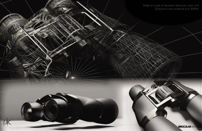 Bushnell Binoculars - Model of a set of binoculars made with solid works. Modeling by Rick Kogler at Coroflot.com